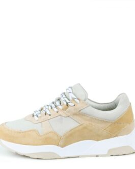 Suede sneakers with nylon