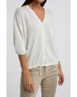 Cotton linen blend cardigan