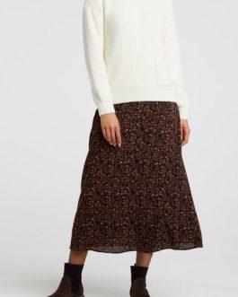 A-line midi skirt with print