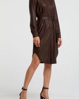 PU belted shirt dress