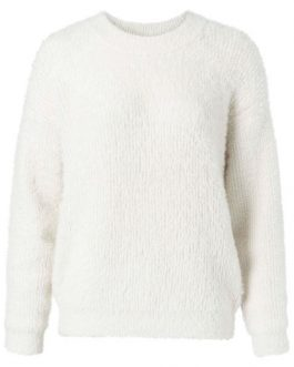 Faux fur fabric mix sweater