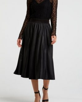 PU A-line midi skirt