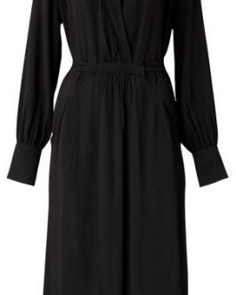 Woven V-neck dress with belt
