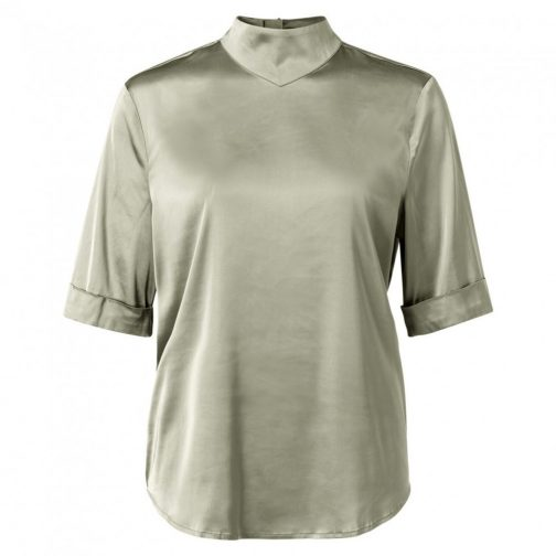 Satin top with short sleeves