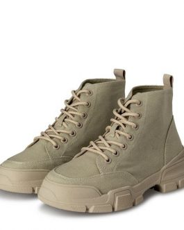 Canvas lace-up hiker boots
