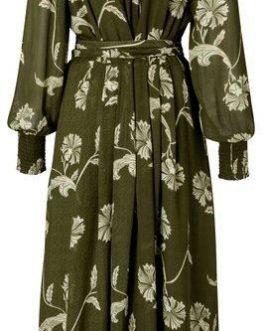 Printed puff sleeve dress