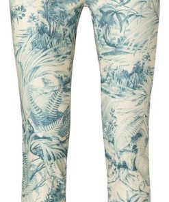 Printed stretch trousers – TEAL DESSIN, 44