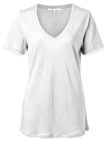 V-neck tee with printed cuffs