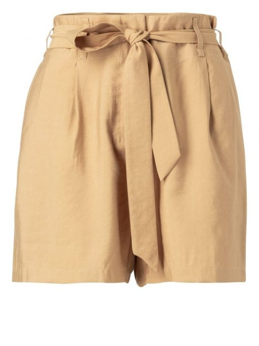 High waist belted shorts
