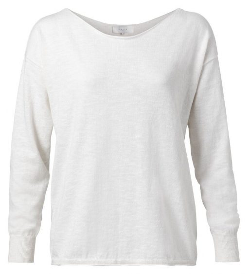Cotton blend boat neck sweater