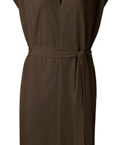 Fabric mix dress with v-neck