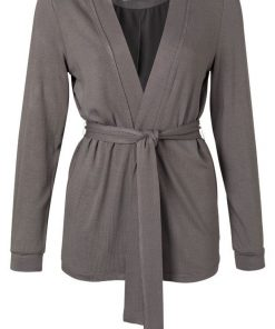 Jersey cardigan with belt