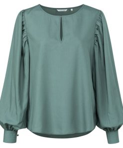 Drapy top with volume sleeve
