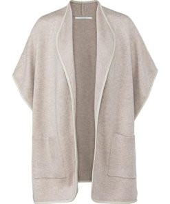 Poncho with faux leather trim