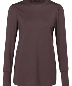 Jersey top with smocked collar